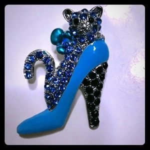 Cute Rhinestone Kitty In A High Heel
